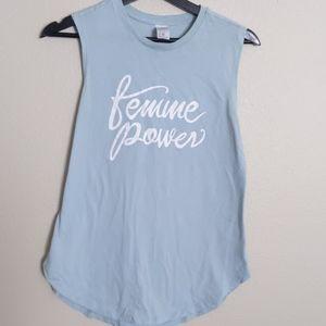 Girl femme power feminist t-shirt teal S